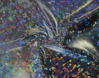 Shattered Glass Hologram Stretch Fabric by the yard - Silver/Black