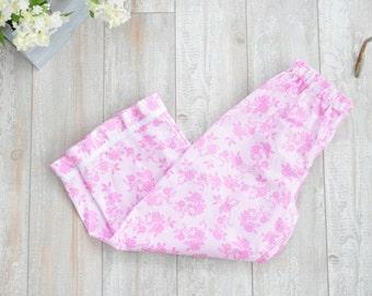 Girls Pink Cotton Pajama Pant, Lounge Pant, Pajamas, Pyjama Size 5t 5, Rose and Ruffle