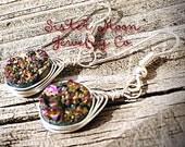 Rainbow Druzy Herringbone Wrap Earrings