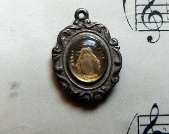 Rare Antique French religious miraculous medal relic pendant w Holy virgin Mary religious reliquary pendant icon w our lady holy Mother