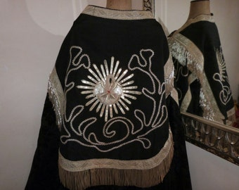 1800 clergy vestment dress velvet priest cope robe w silver bullion fringe sequin pelican embroidery French casel casula religious vestment