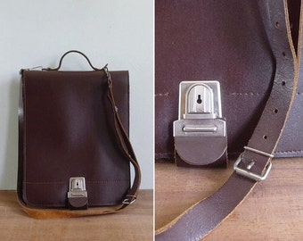 20% CNY SALE - Vintage 60's German Schoolboy Attaché Satchel Backpack with Leather Strap