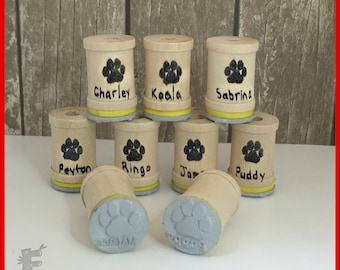 Dog Paw Rubber Stamp with Your Custom Name Card Signing Small Stamp C006