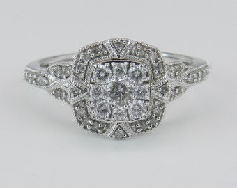 Diamond Cluster Ring Promise Ring Cluster Engagement White Gold Size 7.25