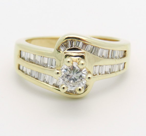 1.17 ct Round Brilliant Natural Diamond Engagement Ring 18K Yellow Gold Size 6.75