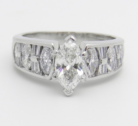 PLATINUM Diamond Engagement Ring 1.72 ct Marquise Brilliant Unique Ring Size 6.25