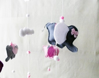 Elephant Mobile, Nursery Decor, New Baby Gift, Neutral colours, Cot Mobile, Baby Mobile, Hanging Decoration