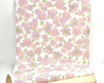 1960-70's Retro Floral Wallpaper, Lavender and Pink