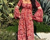 Vintage Dress// Cotton Batik Dress// Cotton Boho Dress// Circa 1970s// Gyspy Hippie Ethnic Dress