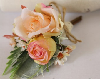 Hemsworth - Men's Buttonhole / Boutonniere - vintage, country Garden style buttonhole, pinky / peach roses, Geraldton wax and grey foliage.