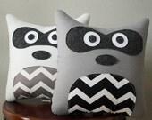 Raccoon Pillow - Gray with Black & White Chevron - Light Gray with Gray Chevron - Decorative Throw Pillow - Woodland Nursery