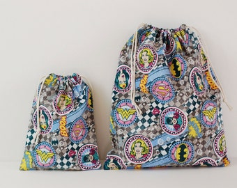 "Set of 2 Fabric Drawstring Bags (7x9"", 11x14"") for Girls / Girls Superhero Inspired"