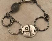Bracelet - Fine Silver X O Charm Connector - Gemstone Labradorite - Raw Silver - Artisan Sterling Jewelry - Rustic Jewelry