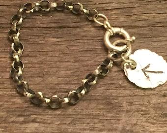 Big Sterling Silver Rolo Bracelet, fine Silver Charm Nordic Symbol, Rustic Antiqued Handcrafted Artisan Bracelet