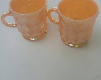 Set of 2 Fire King Peach Lustre Mugs