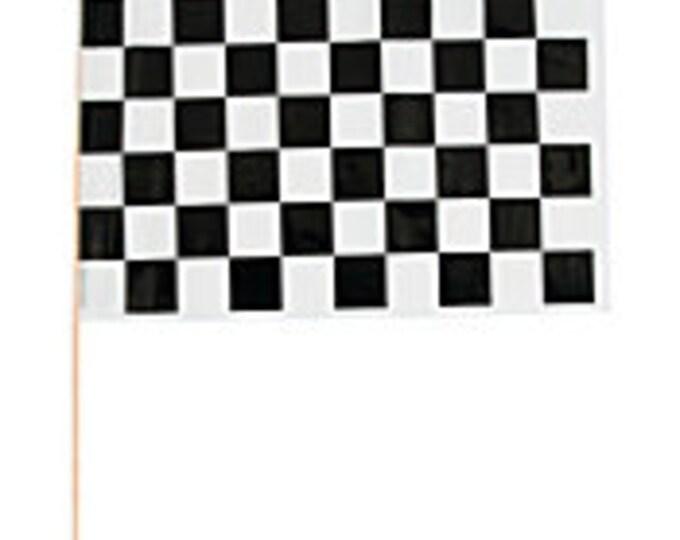 Black & White Checked Race Car Flag on wooden stick