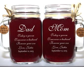 Dad and Mom of Groom Wedding Gift Mason Jars, Mother of the Groom Gift, Father of the Groom Gift