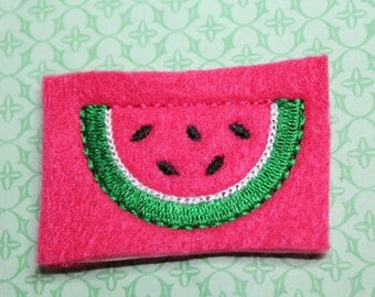 Watermelon slice feltie, hot pink watermelon w/seeds & kelly green rind, felt stitchies, 4 pcs for hair accessories, scrap booking or crafts