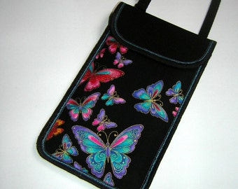 iPhone 7 Case Neck Pocket Smartphone Purse Crossbody Cell phone Cover Small Shoulder Cute Mini Sling Bag in black colorful butterflies