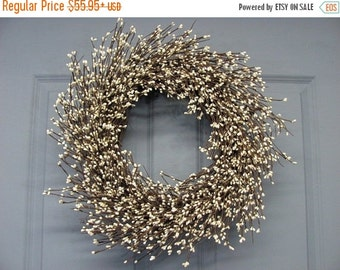 WREATH SALE Summer Wreath - Ivory Pip Berry Primitive Wreath -  Celebrations - Wedding Wreath - Shabby Chic - Spring Wreaths - Front Door Wr