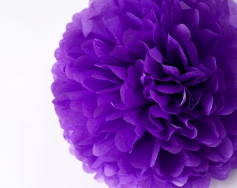 Pansy tissue paper Pom Poms - wedding party decorations / pompoms - various sizes -