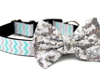 "Dog Collar Bow Add-On Silver Sparkle Bow for Dogs FOR 1"" BUCKLE COLLAR"