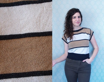 1990s Vintage Cap Sleeve Striped Tan, White, and Black Short Sleeve Boat Neck Sweater Blouse Top Shirt / Nude Beige Khaki Stripes / Small S