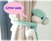 2 mint green monkey curtain tie back (Quianna)