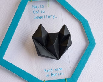 Black minimalist geometric triangle brooche