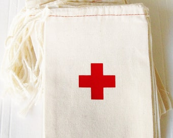 Hangover Kit, 4 x 6 inch drawstring gift bag, first aid cross, first aid hangover kit bag bachelorette survival kit wedding birthday nurse