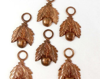 Vintage French Leaf Stampings, Leaf and Berry Stem, Jewelry Making, Gingerbread Brass, Patina Brass, 35 x 21mm, B'sue Boutiques, Item06586