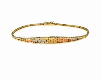 Tri Color 14k Gold Woven Bracelet