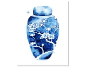 """Ginger Jar I Watercolor Giclee Print of an Original Painting 5 x 7"""" Blue and White Vase Wall Art"""