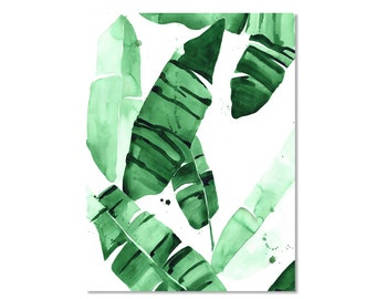 Beverly IV Tropical Banana Green Palm Leaves Watercolor Giclee Fine Art Print Poster
