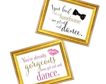 Get out and Dance Wedding Signs   Ladies and Men Wedding Restroom Door Signs   DIY PRINTABLE   Instant Download