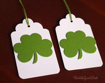 Paper Irish Tags Shamrocks Gift Tags Set of 6 St Patricks Day Tags Clover Tags 3x5 Large Hang Tag