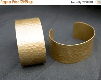 WINTER SALE Pair of Vintage Hammered Brass Bronze Bracelets India Jewelry Making Uber Kuchi