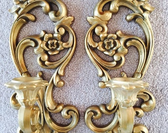 Pair of Hollywood Regency Sconce Candleholders