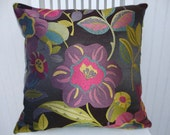 Purple, Green Decorative Throw Pillow Cover, Floral Throw Pillow Cover with Pink and Turquoise, Accent Pillow Cover