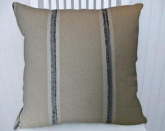 Beige Blue Decorative Pillow Cover--Blue Chenille Stripe   18x18 or 20x20 or 22x22  Throw Pillow- Accent Pillow Cover
