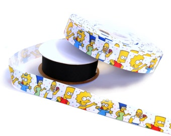 """The Simpsons (dots) - 7/8"""" grosgrain ribbon - by the yard"""