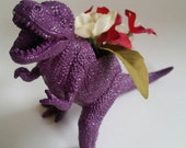 Back to School - Teachers Gift - Dinosaur Small Planter in Purple - Office Decor - Home Decor - Great for Air Plants