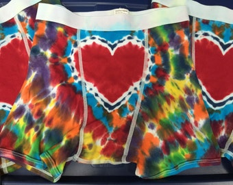 Made to Order - Tie Dye Heart-On (TM) Boxer briefs IN STOCK Small