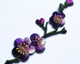 Embroidered Iron-On Applique Cherry Blossom Branch, 1+1/6 x 3+1/2 inch