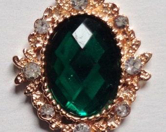 Decorative Metal Rhinestone Flatback Crystal buttons set of 2