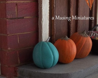 NEW Teal Pumpkin in 1:12 Scale for Dollhouse Miniature Halloween Roombox