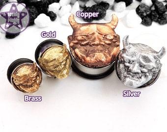 """Japanese Hannya Custom Plug / Gauge Demon Mask 3D Gold Silver Brass Copper Rose Gold 00g, 7/16"""" / 10mm, 11mm"""