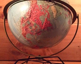 SALE - Awesome Raised Relief Mid-Century Eames Wire Base World Globe 1950's 60's Replogle Stereo 12 Inch Reference Schoolhouse School Kids C