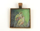 Tropical Bird Pendant - Green Red Yellow Trogon Colorful Hand Painted Nature Art Jewelry Charm