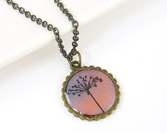 Dandelion Necklace - Pink Purple Nature Pendant Jewelry
